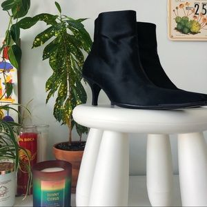 GUCCI Black Satin Ankle Boots